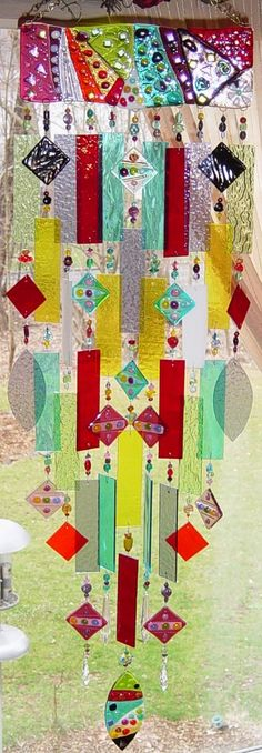 Spectrum ~ Kirk's Glass Art fused and stained glass windchimes Fused Glass Art, Mosaic Glass, Stained Glass, Wind Chimes Craft, Glass Wind Chimes, Bottle Chandelier, Blowin' In The Wind, Good Day Sunshine, In The Tree