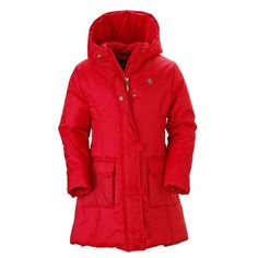 FERRARI for younger fans: a fashionable padded jacket in nylon with a hood and a full central zipper opening, available on store.ferrari.com. #FerrariStore #jacket #kids
