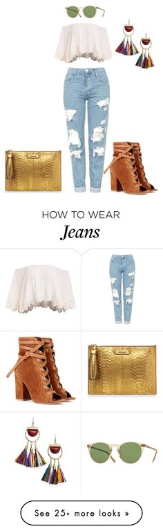 """""""Untitled #492"""" by labriana29 on Polyvore featuring Topshop, Gianvito Rossi, MANGO and Oliver Peoples"""