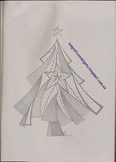 Preciosos patrones de bolillos de Navidad... Crochet Tree, Crochet Motif, Fabric Stiffener, Bobbin Lacemaking, Lace Art, Bobbin Lace Patterns, Christmas Applique, Parchment Craft, Point Lace