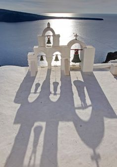 🌞Looking out to sea, reflection of the bells Santorini House, Santorini Island, Santorini Greece, Places Around The World, Oh The Places You'll Go, Travel Around The World, Around The Worlds, Amazing Places, Beautiful Places