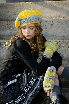 Crochet Hat Gray and Yellow Tween Fashion Slouchy by foreverandrea,