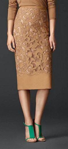 Royal brown lacer cut pencil skirt