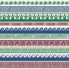 Estilo grego fronteiras sem costura-mão desenhar vector art illustration