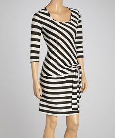 Love this Black & White Stripe Twist-Knot Dress - Women on #zulily! #zulilyfinds