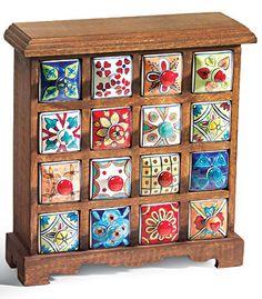 (63% OFF)16 drawer ceramic storage chest, mango wood