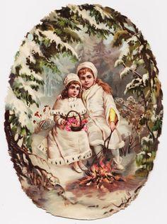 1 Victorian Die Cut Scrap - Children in Forest with , Christmas , 1880 - 10 inch