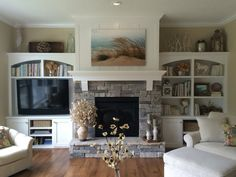 Home fireplace, fireplace doors, fireplace shelves, farmhouse fireplace, fi Fireplace Bookshelves, Fireplace Built Ins, Home Fireplace, Fireplace Remodel, Living Room With Fireplace, Fireplace Surrounds, Fireplace Design, Farmhouse Fireplace, Fireplace Ideas