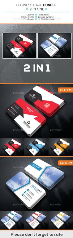 Business Card Bundle (2 in 1) - Business Card Template PSD. Download here: http://graphicriver.net/item/business-card-bundle-2-in-1/16698679?ref=yinkira