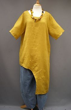 REDUCED~~~La Bass~CORN~ Dramatic Oversized Linen Arch hem Top ~ Size 1 (10-20) | eBay