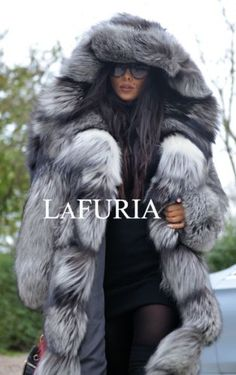 PLATINUM FOX FUR LONG COAT HOOD CLAS CHINCHILLA RUSSIAN SABLE MINK SILVER JACKET