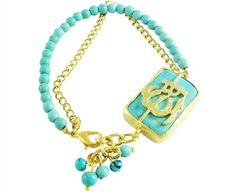Back by popular demand! Now back in stock our Turquoise color Allah name gold plated charm bracelet. Price: $35.99.  Get it today at: http://www.allahloversjewelry.com/Allah-Gold-Plated-Turquoise-Blue-Charm-Bracelet-p/ae-br-87.htm