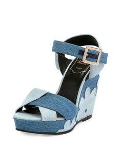 X2XS5 Roger Vivier Patchwork Denim Wedge Sandal, Baltic Chiaro/Air