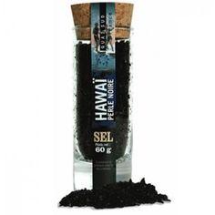 Sal de Hawaï Perla Negra. Auténtica sal negra con un sabor muy particular. Se usa como flor de sal y es magnífica en carnes blancas, pescados y mariscos.