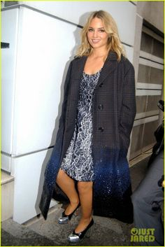 Dianna Agron wearing Prabal Gurung Embroidered Dress, Louis Vuitton Fall 2013 RTW Long Checkered Coat with Paillette Degrade, Miu Miu Bicolor High Vamp Pumps, NRJ Radio Stations France October 16 2013