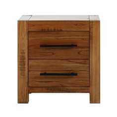 Columbia Acacia Dark Wood 2 Drawer Bedside Table | Dunelm