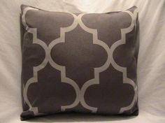 Decorative Designer Pillow Cover- 18x18-Two Toned Grey Trellis Fret Work-Reserved for Kate $35