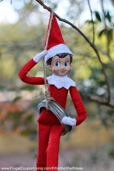 Elf on the Shelf Ideas – Elf Tire Swing from a Mason Jar Lid. Easy Elf Idea, Funny Elf Idea. Also get FREE Elf Notes on Frugal Coupon Living. Print from your computer!