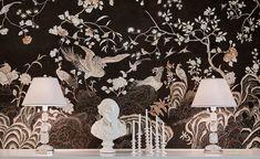 Coco Coromandel in Original design colours on custom black painted Xuan paperInterior design by Ainsworth Noah. | de Gournay