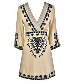 Caftan Cute Black and Beige Embroidered Dress