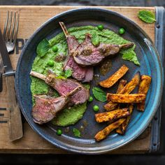 lamb chops with minted pea puree and sweet potato fries