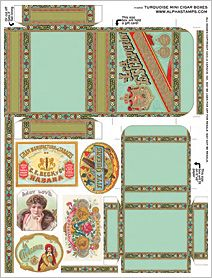 Turquoise Mini Cigar Boxes Collage Sheet