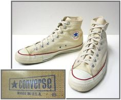 Vintage Converse Chuck Taylor All Star High Top Canvas Men's Sneakers and Yes! Made in USA. Converse Vintage, Vintage Sneakers, Converse Men, Vintage Shoes, Best Sneakers, Casual Sneakers, Sneakers Fashion, Converse Chuck Taylor All Star, Converse All Star