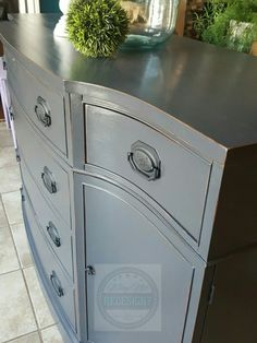 Oh my! Bow front vintage Duncan Phyfe buffet perfectly distressed and sealed with Polycrylic gloss www.facebook.com/whynotredesign