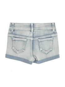 Younger Girls Lace Panel Denim Shorts