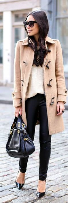 Fall / Winter - street chic style - business casual - office wear - work outfit - camel toggle button coat + black skinnies + white sweater + black stilettos + black handbag + black sunglasses