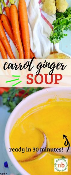 Immune-Boosting Carrot Ginger Soup full of healthy ingredients, flavor, and is so fast and easy to make! Freezes well and is Vegan, Vegetarian, and Dairy-free. Best Vegetarian Recipes, Vegan Vegetarian, Healthy Recipes, Homemade Biscuits, Homemade Soup, Carrot Ginger Soup, Healthy Comfort Food, Healthy Food, Vegan Soup
