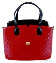 Červená prošívaná kabelka do ruky S461 GROSSO