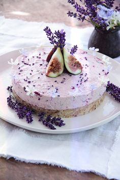 Raw Fig Cherry Lavender Honey Cake. Two of my favourite foods are in season at moment – cherries and figs. I found a gorgeous bunch of deep violet lavender at the markets last weekend so was inspired to add a bit to this cake. This is a colourful and tasty festive treat, and using a little coconut meat in the recipe in place of some of the cashews makes it a bit lighter also.