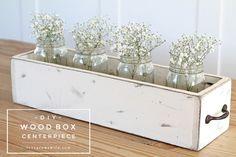 DIY centro floral de cajón de madera | Decoración