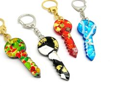 PC0101 ( Chiave ) Murano Glass Keyring completely handmade with the Glass Sheet tecnique