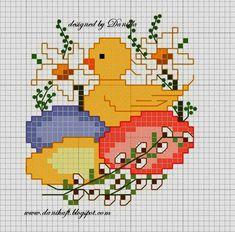 18 σχέδια σταυροβελονιά για Πασχαλινά κεντήματα και κάρτες(Πασχαλινά αυγά , κουνελάκια , πουλάκια και λουλούδια) . 18 Easter cross st...