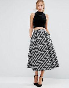 ASOS Metallic Jacquard Prom Skirt