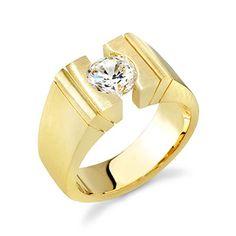 18K Yellow Gold Men's Tension Set, Brilliant Cut, H Color, SI1 Clarity Diamond Designer Engagement Ring (1.00 Carat) http://www.beckers.com/Detail.aspx?ProdId=878