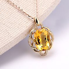 Aliexpress.com : Buy PENGTAI 5.24CT Certified Natural Citrine Pendant Natural Diamond 18K Rose Gold Gemstone Pendant for Women Gemstone Jewelry from …