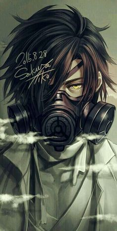 Cool gas mask guy with yellow eyes, I plan to draw a full-body of this guy with a slightly different haircut later in time^^ (Cool Art Ideas) Anime Boys, Cool Anime Guys, Hot Anime Boy, Manga Boy, Manga Anime, Anime Art, Dark Anime, Couple Fotos, Anime Negra