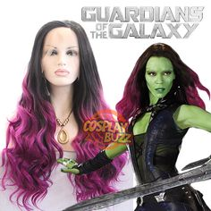 Marvel Guardians of the Galaxy Gamora Cosplay Long Black Wavy Ombre Magenta Lace Front Wig