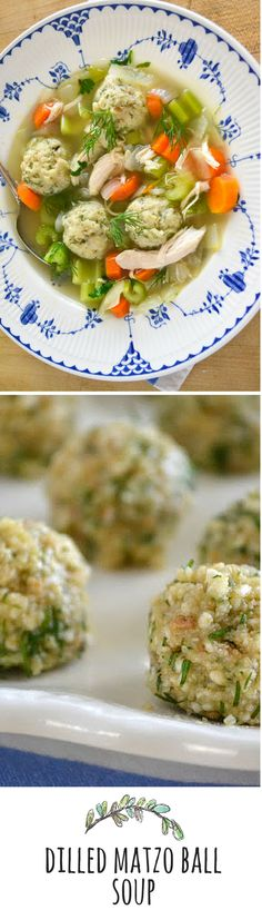 Matzo ball soup is one of the world's great soups - I brightened it up with mini matzo balls made with lots of fresh dill Kosher Recipes, Soup Recipes, Cooking Recipes, Healthy Recipes, Easy Family Meals, One Pot Meals, Quick Meals, Passover Recipes, Jewish Recipes