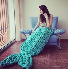 Super Chunky Mermaid Tail Blanket - Mermaid Blanket - Merino Wool Mermaid Tail - Super Chunky knitted blanket - Hand Knitted blanket by WowKnitAndCo Kids Mermaid Blanket, Mermaid Blanket Pattern, Knitted Mermaid Tail Blanket, Crochet Heart Blanket, Crochet Mermaid Tail, Hand Knit Blanket, Knitted Blankets, Mermaid Blankets, Afghan Crochet