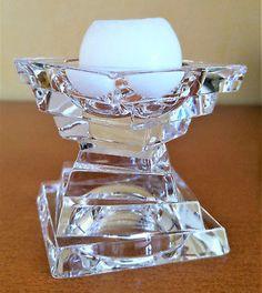 Bougeoir-en-verre-epais-carres-superposes-bougie-Art-Deco-moderne-candlestick