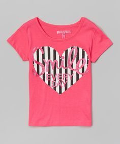 Look what I found on #zulily! Pink 'Smile Every Day' Graphic Tee - Girls #zulilyfinds