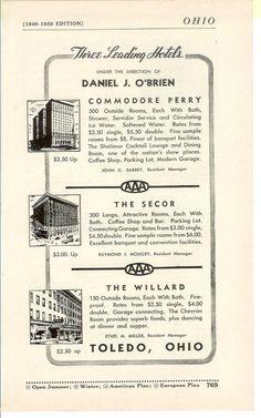 toledo ohio retro images | 1950s Hotel Advertisement - Toledo Ohio - Vintage Antique Retro 50s ...
