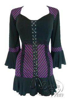 Dare To Wear Victorian Gothic Women's Cabaret Corset Top Purple Maze