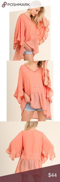 🌸SPRING SALE🌸Salmon Crochet V Neck Tunic Top Salmon Crochet V neck Tunic Top with ruffled sleeve and hem detail. Made of poly/ cotton spandex blend. Fits true to size. Available in Latte Bchic Tops Tunics