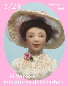 miniature porcelain doll, half inch scale by Maria Narbon