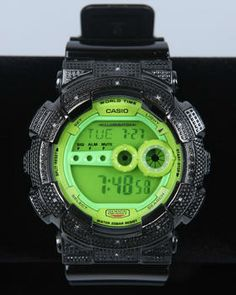 Gd 100 Blk/Lime Green  Diamond Watch by G-Shock by Casio @ DrJays.com!